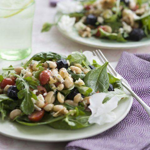Salada de feijão branco com tomate seco