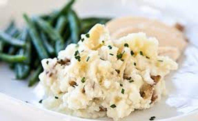 Purê de batatas com azeite de alho