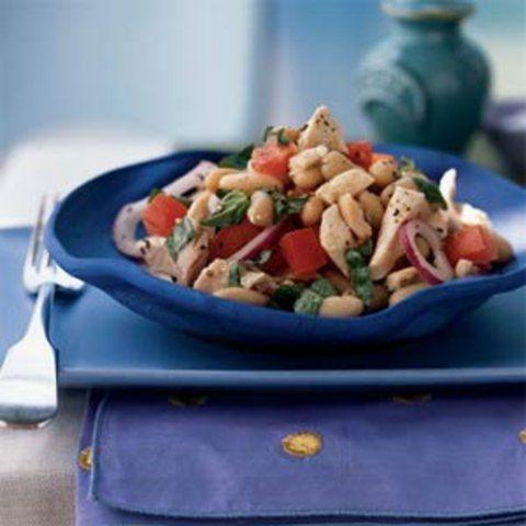Salada de frango assado e feijão branco