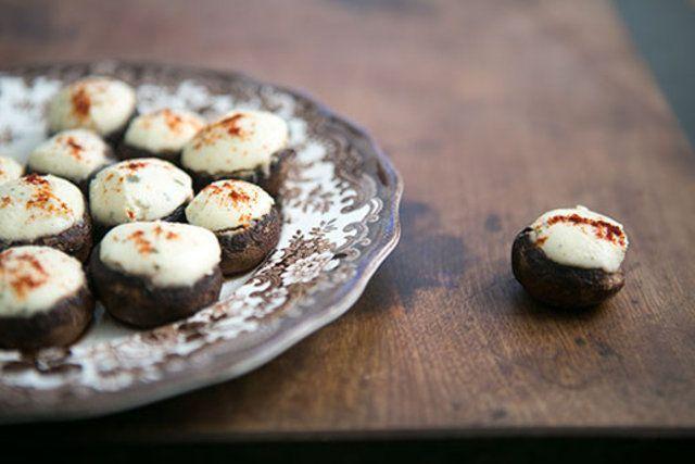 Cogumelos recheados com queijo Boursin