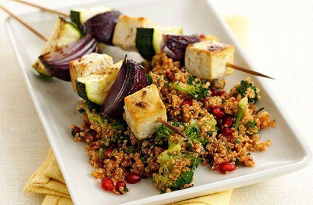 Espetos de Tofu e vegetais