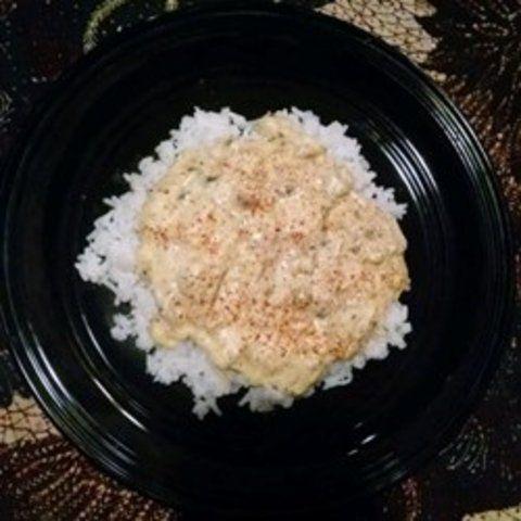 Creme de cogumelos e peru com arroz