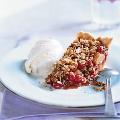 Torta de pêra com cranberries