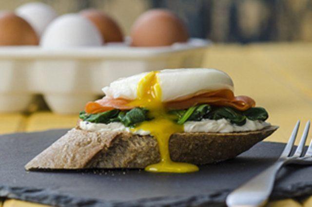 Lanche de salmão, ovo e espinafre