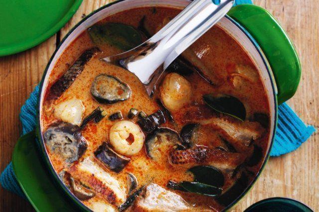 Pato ao curry com berinjelas