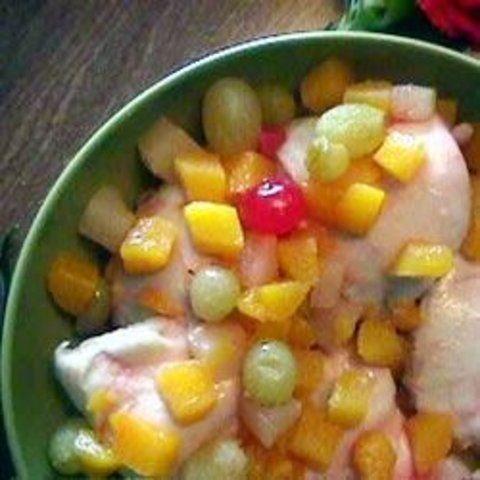Frango assado com frutas