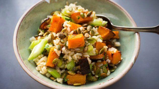 Salada de abóbora com arroz