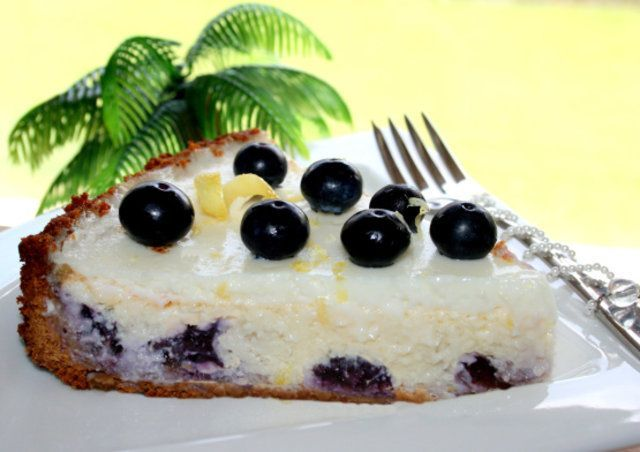 Cheesecake de limão e blueberries
