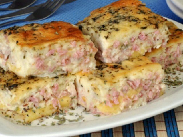 Torta de queijo e presunto