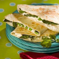 Receita Quesadilla com aspargo e queijo de cabra