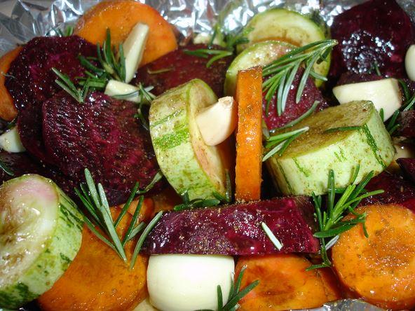Legumes assados com tempero especial