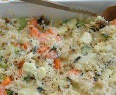 Arroz de forno com brócolis e cogumelos