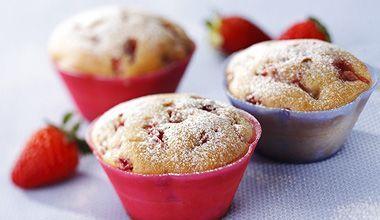 Muffin de fubá e morango