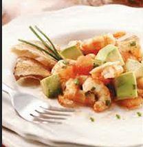 Salada de camarão com tangerina