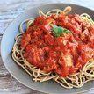 Espaguete com molho de tomate simples