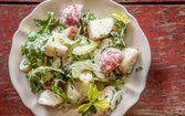 Salada de batata com rúcula e aipo