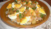 Salada de bacalhau com batata doce