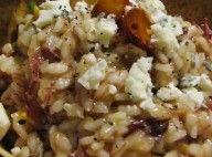 Risoto de carne seca, com cubos de abóbora e farelos de gorgonzola