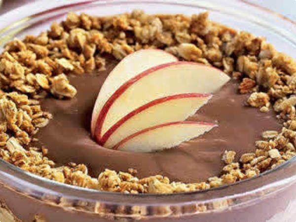Pavê de maçã com granola