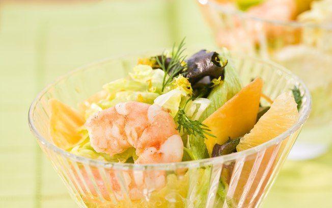 Salada cítrica com camarão