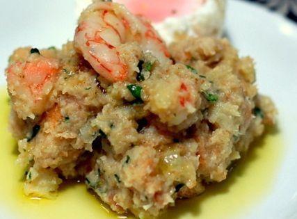Açorda de bacalhau e camarão