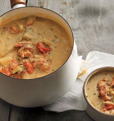 Sopa de salmão defumado