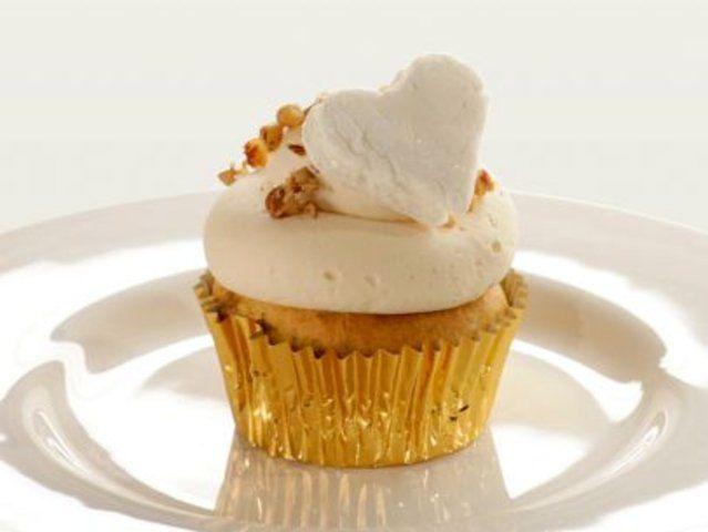 Cupcake de batata-doce e cidra com cobertura de marshmallow
