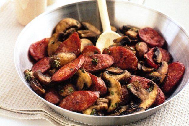 Calabreza e cogumelos com alecrim