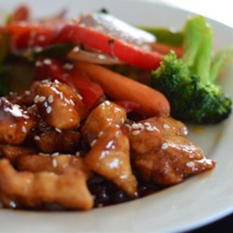 Pedaços de frango agridoce picante