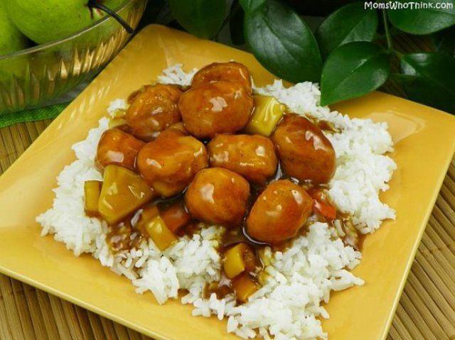 Frango empanado agridoce com arroz