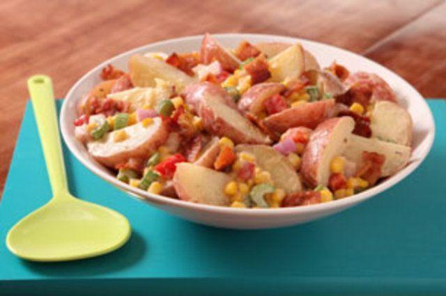 Salada de batata, bacon e Milho