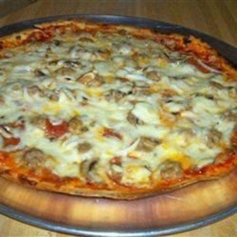 Pizza de cogumelo com pimentão