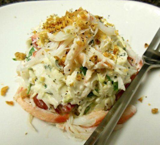 Salada de caranguejo com gorgonzola