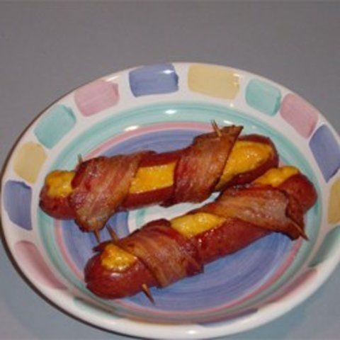 Salsicha com cheddar e bacon
