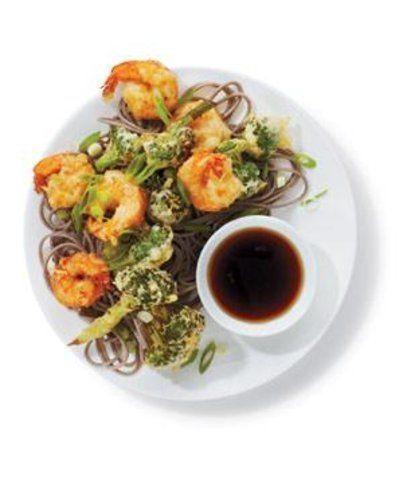 Camarão e brócolis Tempurá