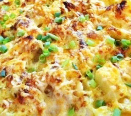 Bacalhau desfiado de forno com batata